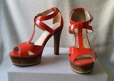 Jimmy Choo 38 7.5 Tantra Wood Platform Sandal Orange Patent Leather heels Shoes