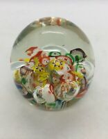 """Vintage Glass Millefiori Bubbles Paperweight Colorful 2-1/2""""x2-1/2"""""""
