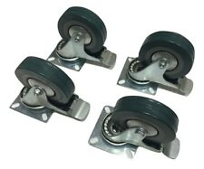 "Set of 4 Swivel Plate Casters with 4"" Polyurethane Wheels with Step Brake"