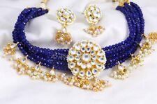 Indian Bollywood Wedding Blue Crystal Kundan Necklace Earring Set Fashion Jewelr