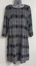 NEW Plus Size Black Silver Aztec Pattern Sparky Glittery Party Shift Tunic Dress
