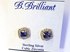 B Brilliant Tanzanite Silver Blue Stud Earrings Surrounded CZ Stones  NEW  $120
