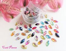 3D Nail Art Mix Horse Eye Shape AB Rhinestone Multi Pot Gems Tip Flat Back Craft