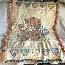 "BRIGHT FUTURE FOR BABY Teddy Bunny Hearts Woven Jacquard Throw 36"" X 48"" *NIP*"
