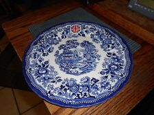 """NEW QUEEN'S Cobalt Blue Tonquin 10 1/4"""" DINNER PLATE (s) Made in England"""