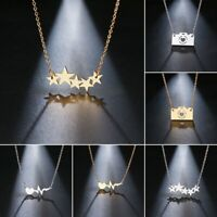Fashion Stainless Steel Necklace Star Camera ECG Pendant Clavicle Chain Jewelry