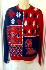 Ole MIss Rebels Sweater Size Large Ugly Christmas Holiday Trees Mississippi New