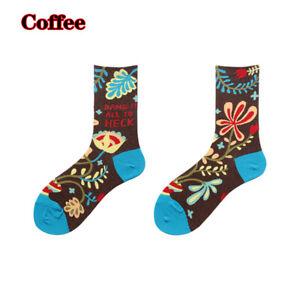 Fashion Women Funny Flowers Printed Socks Mid Tube Cotton Sock Casual Streetwear