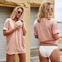 Women Girls Cotton Blouse Summer Short Sleeve Shirt Casual Loose Blouse Tops Tee