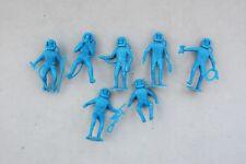7 Blue Plastic Spacemen Space Station Astronaut Toy Figure Vintage 1960's Marx?