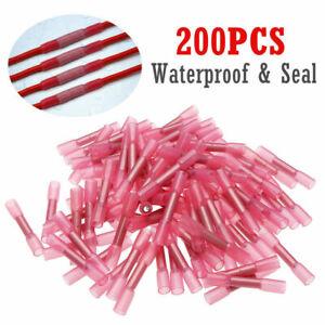 200pcs 22-18 AWG Heat Shrink Butt Wire Splice Connectors Crimp Terminals Set