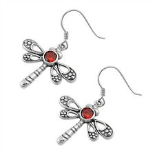 .925 Sterling Silver Dragonfly Fashion Stud Earrings with Simulated Garnet CZ