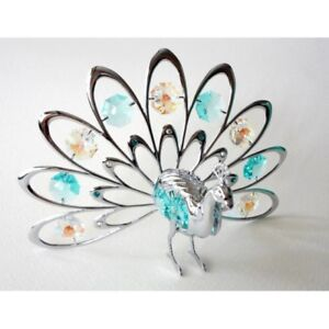 Crystocraft Fan Out Peacock Ornament with Swarovski Crystals - U0092-001-CAX