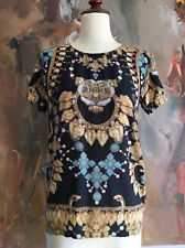 ROMANCE WAS BORN Black Jewellery Print Silk T Shirt Top AU 6 - Archive