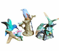 3 LEFTON Bird Figurines China Porcelain Hummingbird Flycatcher Home Decor
