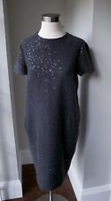 Brunello Cucinelli Cashmere Dress Navy with Sequin Embellishment size S