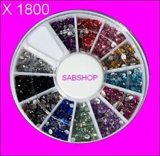 CARROUSEL 1800 Strass Crystal en 12 Couleurs 1,5mm Art Nail Déco Ongles Gel UV