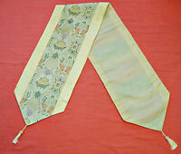 """VINTAGE CHINESE ART TWO TASSELS SATIN CHAMPAGNE GRAY GREEN 13""""x 72"""" TABLE RUNNER"""