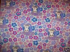 Angelina Ballerina Fleece Fabric Pack Flowers Blue