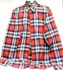 J Crew Men s Long Sleeve Button Down Shirt Summer Plaid Top Size M 100% Cotton