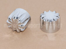 CNC Deep Cut Front Axle Nut Covers Harley Touring Street Glide Softail Chrome