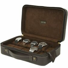 Tech Swiss Watch Case Compact Travel Briefcase Brown Leather Large Compartments