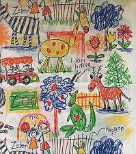 House N Home Fabrics Kid's Zoo Drawings Print 1.5 Yards Children Crayon Art