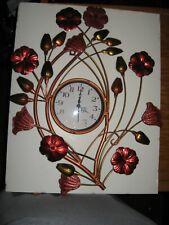 """Metal Floral Wall Clock Quartz Beautiful Copper & Red Metallic Flowers 20"""" Tall"""