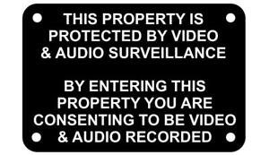 This Property is Protected by Video & Audio Surveillance Warning Sign Plaque