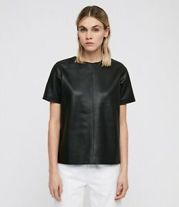 All Saints Womens Taylor Black Designer Soft Leather Look Fabric T-Shirt Tee Top