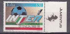 FRANCOBOLLO INTER CAMPIONE  ITALIA CALCIO 1988 - 1989 BORDO APPENDICE JUVENTUS