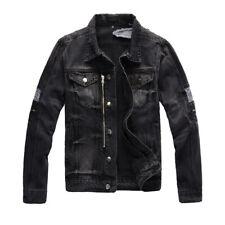 New Italy Pop Style Men's Denim Coat Blue Ripped Ribbed Black Biker Jacket A447C