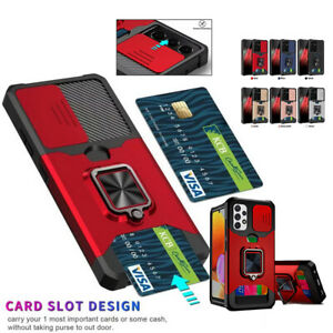For Samsung Galaxy A32 A52 A72 S21 Plus With card slot Ring Holder Phone Case