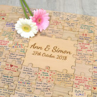Jigsaw Guestbook - Personalised Wooden Wedding Puzzle Piece Large Guest Book