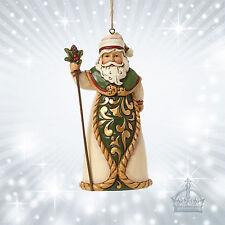 Santa Green & Ivory Jim Shore Heartwood Weihnachtsmann Nikolaus Grün  4044570