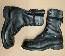 Vintage Black Leather Army Jump Boots 10-59 1959 Cap Toe USA Vietnam Era