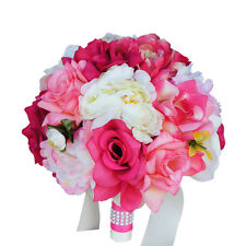 "9"" Bouquet-shades of Pink Ivory.Peony rose-nice quality wedding silk flower"