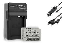 2x Baterìas NB-10L + Cargador para Canon PowerShot G15, G16, G1X, SX40 HS, SX50