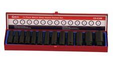 "Genius Tools 13PC 1/2"" Dr. Metric Deep Impact Socket Set (CR-Mo) - CD-415M"