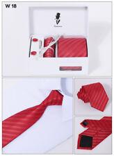 4PCs include Mens Dress Silk Tie set Cufflinks Hanky Tie Clip Gift Box W18