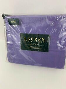 RALPH LAUREN Dunham Sateen Violet  4pc set KING Sheets Purple 300TC Extra Deep