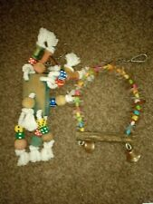 Parrot toys colourful wood rope and leather activity toys