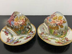 Vintage RARE Pair Capodimonte Painted Cherub Putti Teacups & Saucers