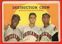 1959 Topps #166 Destruction Crew GOOD CREASE Lary Doby  Minoso Rocky Colavito
