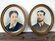 Pair Antique Victorian Oil Paintings Portrait Husband & Wife Gilt Frames