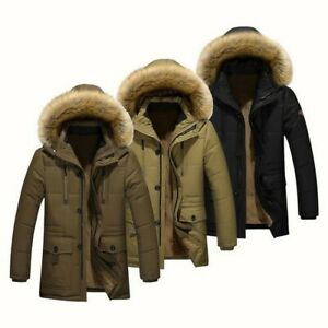 UK Winter Men Jacket Hooded Fur Collar Thick Parka Coat Velvet Lining Warm Coats