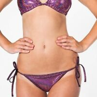 NWT American Apparel Women's Swim Tie Bikini Bottoms Purple Glitter Size X-SMALL