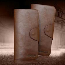 Luxury Mens Purse Wallet Brown Leather Long Pockets ID Card Clutch Bifold Purse