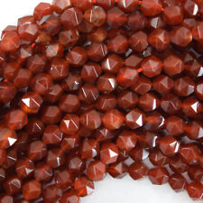 "Star Cut Faceted Red Carnelian Round Beads Gemstone 15"" Strand 6mm 8mm 10mm"