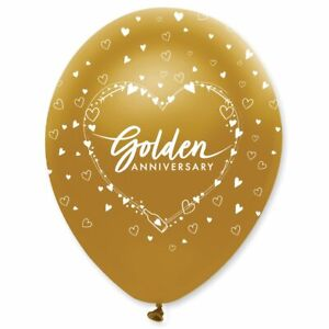 6 x 50th Golden Wedding Anniversary Latex Balloons Party Decorations